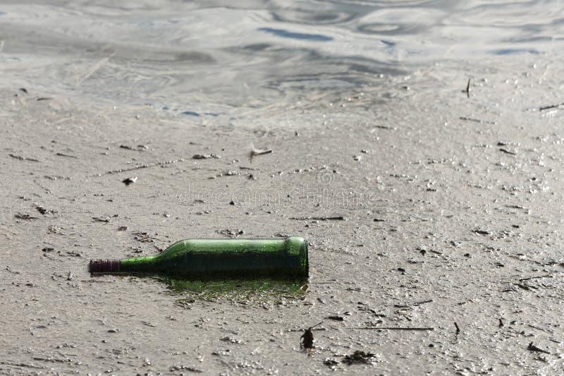Garrafa verde em uma lagoa, em uma poluição e em uma desordem Tom frio fotografia de stock royalty free