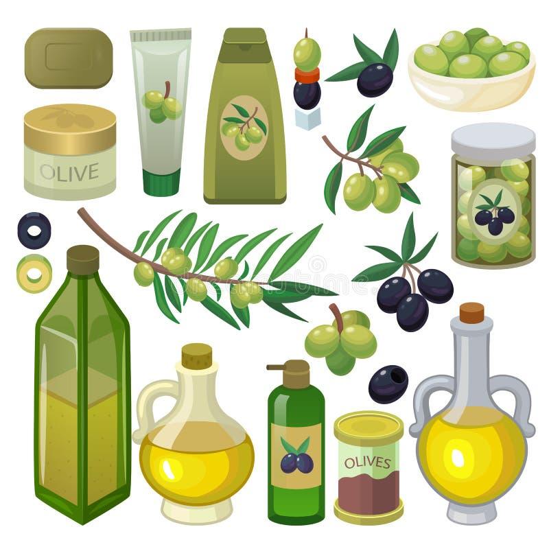 Garrafa verde-oliva do azeite do vetor com óleo virgem e os ingredientes olivaceous naturais para o grupo da ilustração do alimen ilustração do vetor