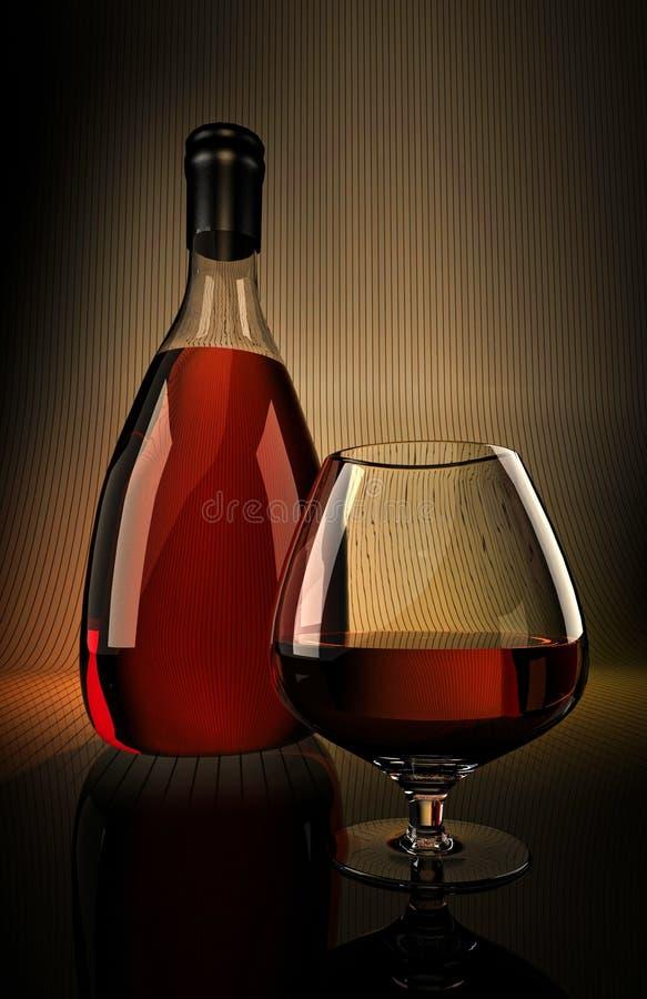 Garrafa vermelha do conhaque do uísque da aguardente com modelo de vidro ilustração stock