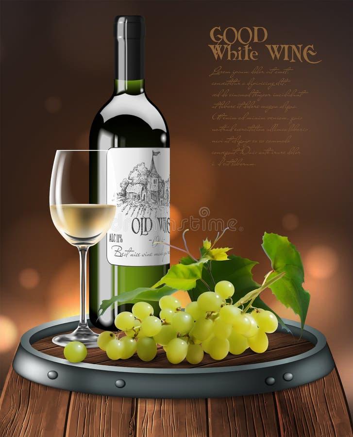 Garrafa, vidro do vinho branco e grupo de uvas em um tambor de madeira vetor 3d Ilustra??o real?stica altamente detalhada ilustração royalty free