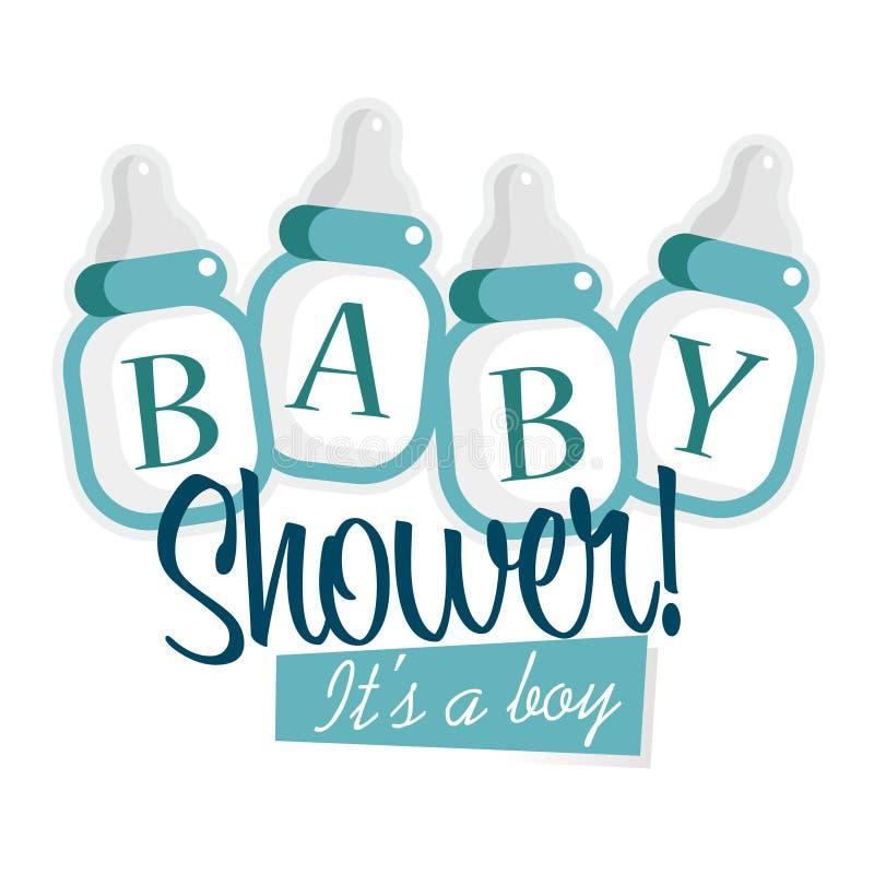 Garrafas azuis da festa do bebê ilustração royalty free