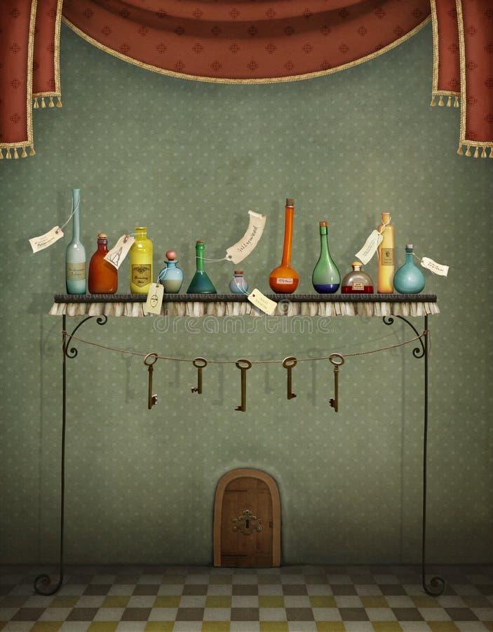 Garrafas, chaves e porta pequena ilustração royalty free