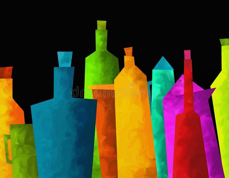 Garrafas coloridas ilustração do vetor