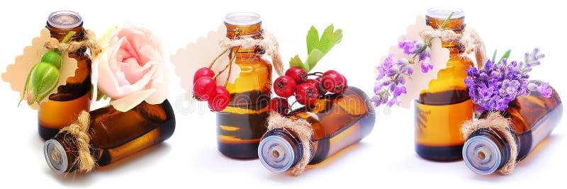 Garrafas com óleos diferentes do aroma em um fundo branco isolado Close-up foto de stock royalty free