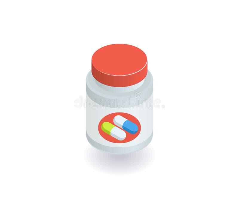 Garrafas com comprimidos e ícone das cápsulas Ilustração do vetor no estilo 3D isométrico liso ilustração do vetor