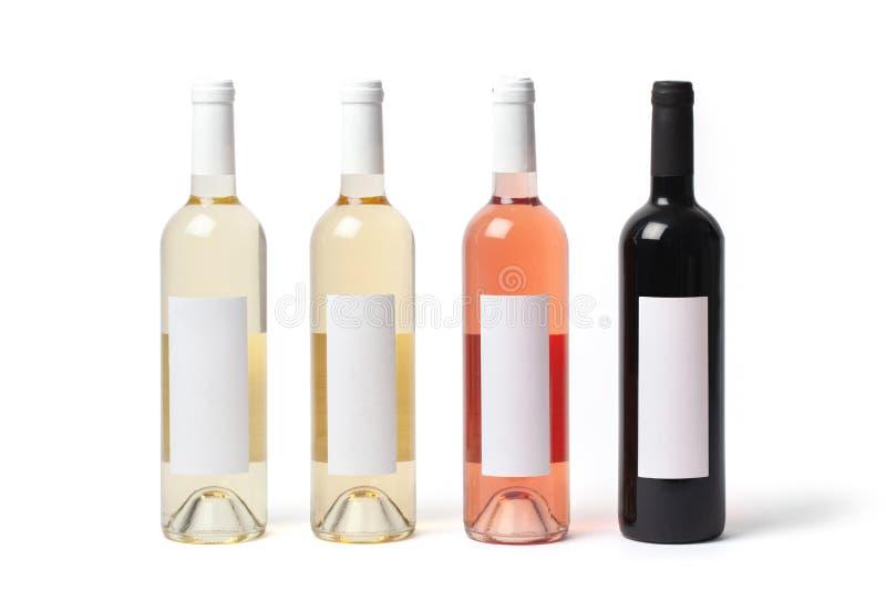 Garrafas com tipos diferentes do vinho imagens de stock royalty free