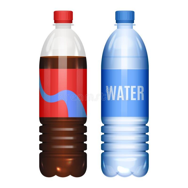 Garrafas da soda da água e da cola Ilustração do vetor ilustração royalty free