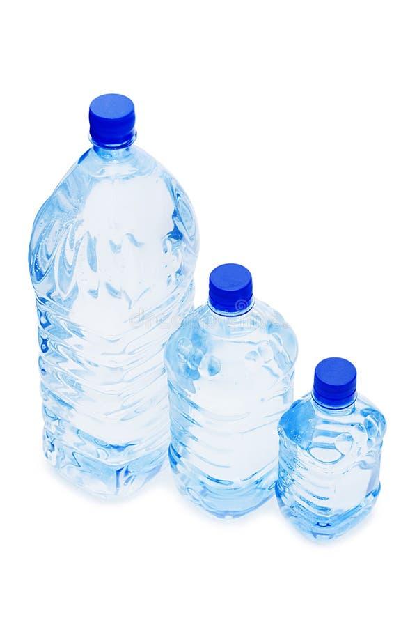 Garrafas de água isoladas sobre o branco imagem de stock royalty free