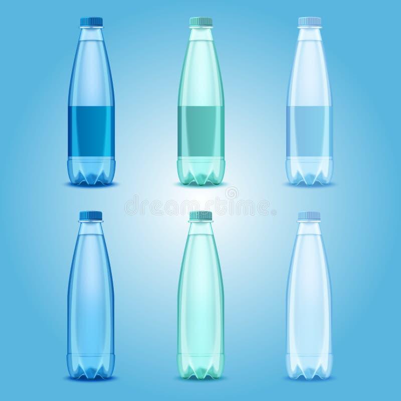 Garrafas de água potável plásticas realísticas do vetor ajustadas ilustração royalty free