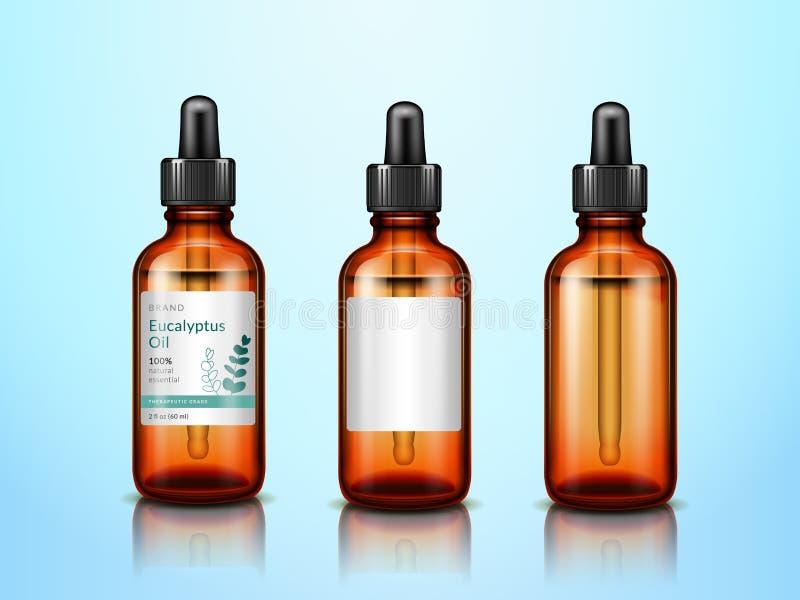 garrafas de óleo essencial do eucalipto 3d com pipeta ilustração royalty free