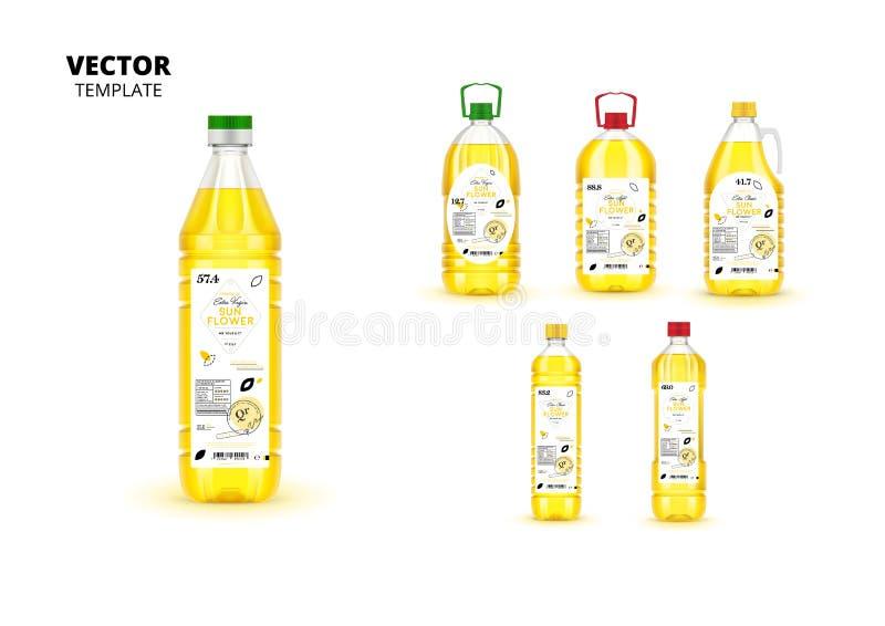 Garrafas de óleo virgens extra realísticas do girassol ilustração stock