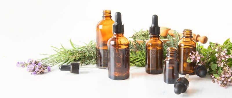 Garrafas de óleos essenciais fotos de stock