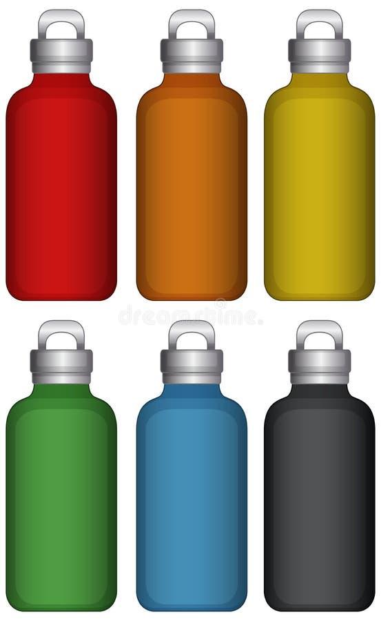 Garrafas de ?gua em seis cores diferentes ilustração do vetor