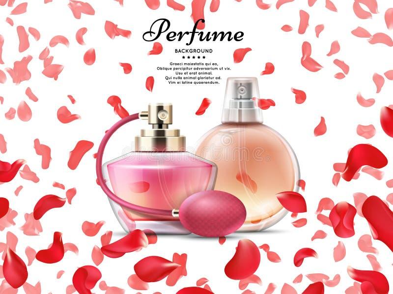 Garrafas de perfume dos cosméticos com as pétalas cor-de-rosa do fundo cor-de-rosa ilustração do vetor