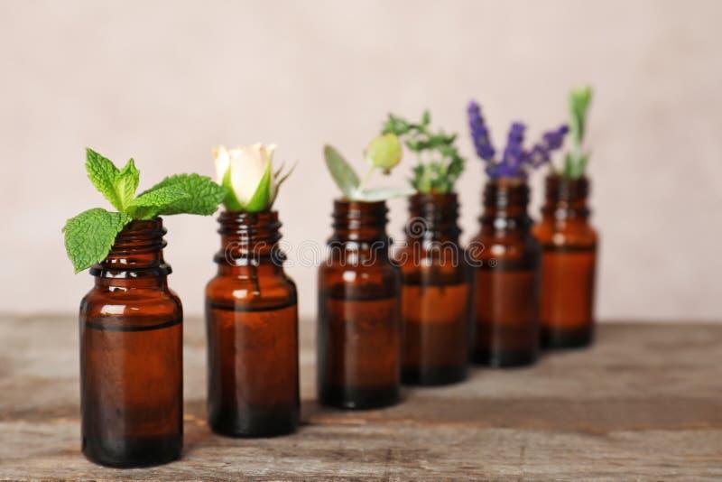 Garrafas de vidro com óleos essenciais e os ingredientes diferentes imagem de stock