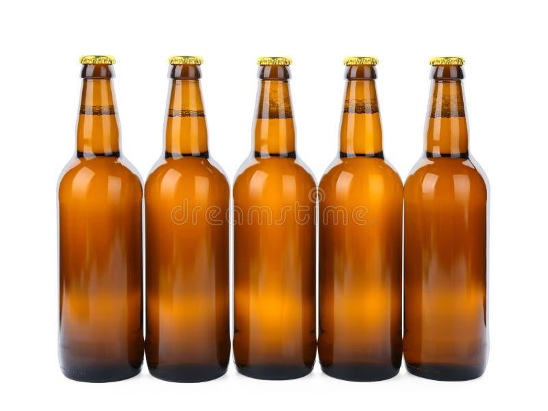 Garrafas de vidro da cerveja isoladas imagem de stock royalty free