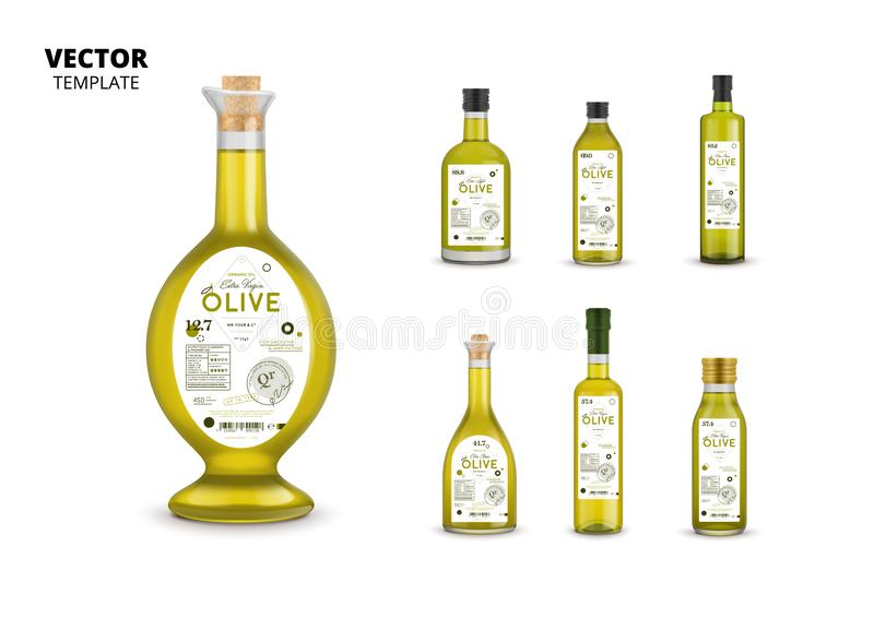 Garrafas de vidro do azeite superior da qualidade ilustração stock