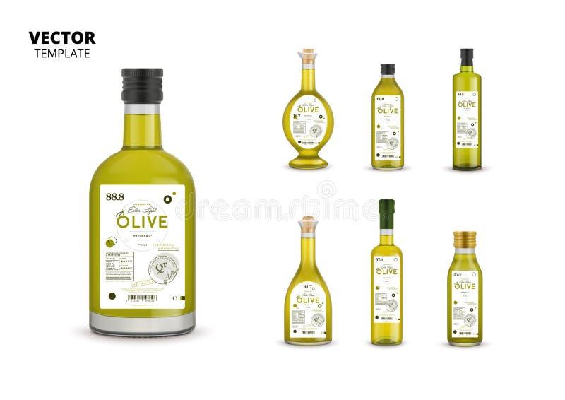 Garrafas de vidro do azeite virgem extra orgânico ilustração stock