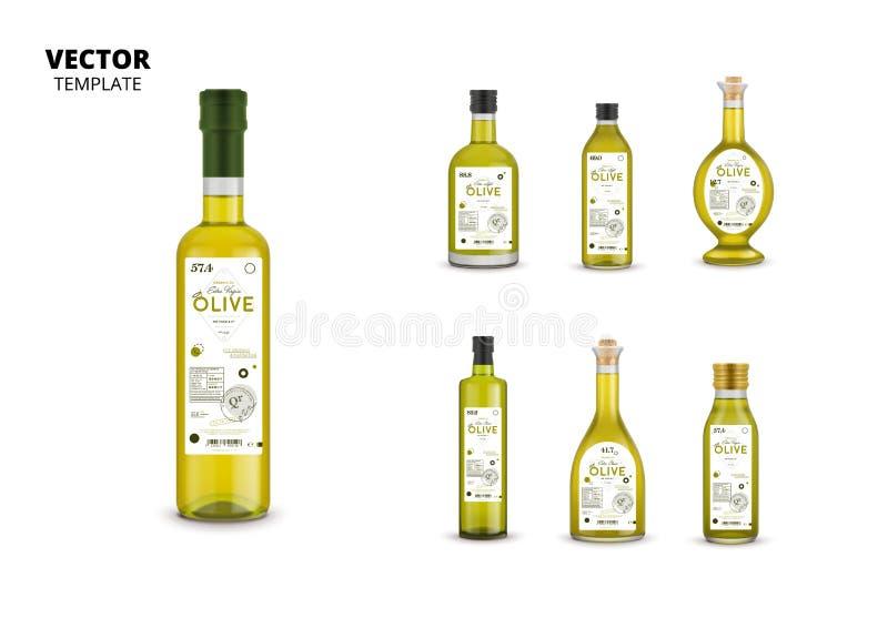 Garrafas de vidro do azeite virgem extra realístico ilustração stock