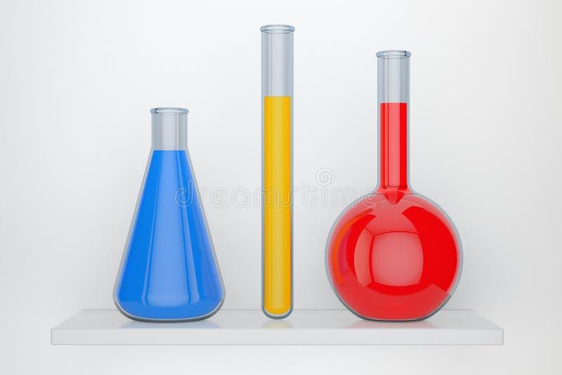 Garrafas de vidro do laboratório com os produtos químicos líquidos rendição 3d ilustração stock
