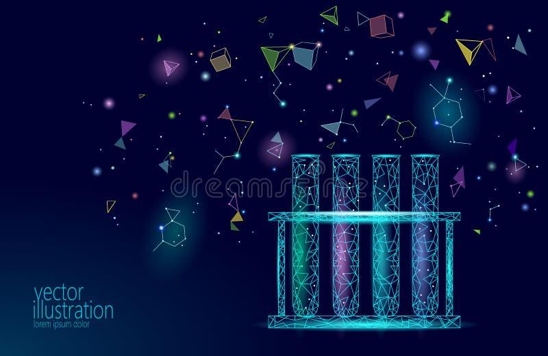 Garrafas de vidro químicas da baixa ciência poli Pesquisa de incandescência azul do triângulo poligonal mágico da lente zoom do m ilustração royalty free
