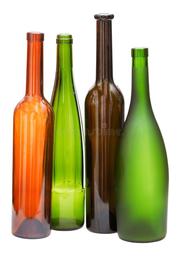 Garrafas de vinho abertas vazias coloridas isoladas imagem de stock