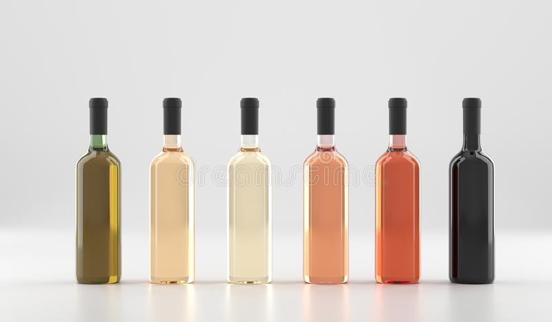 Garrafas de vinho diferentes sem etiquetas ilustração stock
