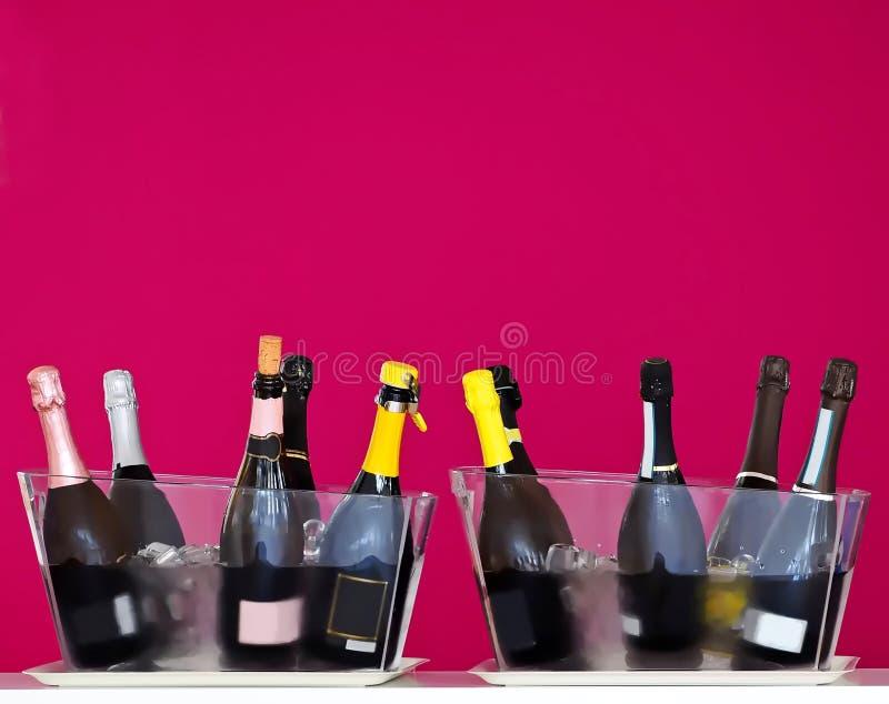 Garrafas de vinho espumante em duas cubetas de gelo transparentes em uma degustação de vinhos Fundo roxo da parede imagem de stock royalty free