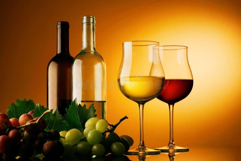 Garrafas do branco e o vinho tinto, os vidros e o grupo de uvas imagens de stock