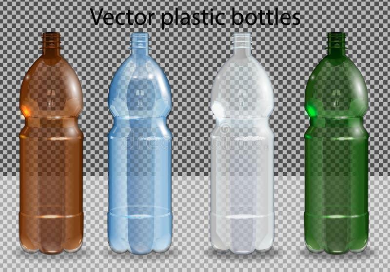 Garrafas do pl?stico do vetor Garrafa pl?stica com ?gua mineral no fundo transparente alfa Modelo realístico da garrafa da foto ilustração do vetor