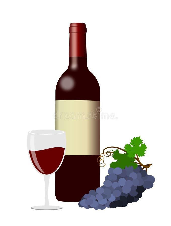 Garrafas do vinho, de vidros e de uvas pretos ilustração royalty free