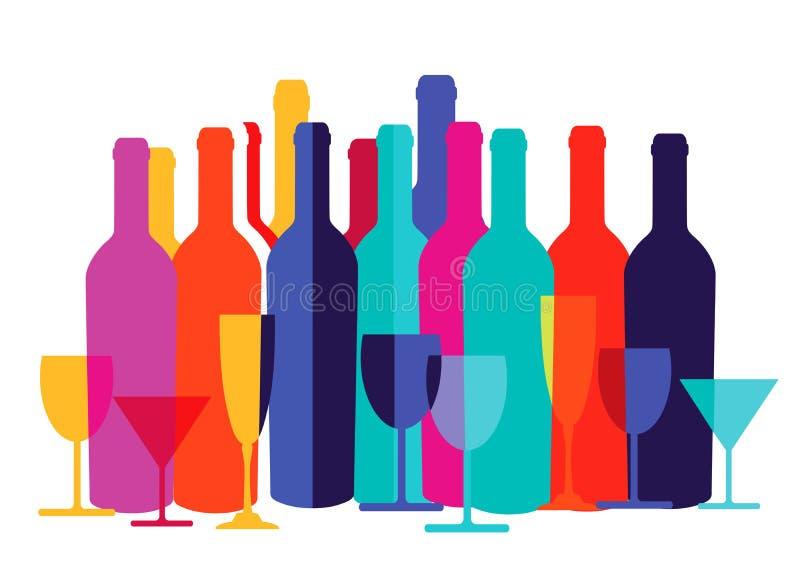Garrafas e vidros coloridos de vinho ilustração royalty free