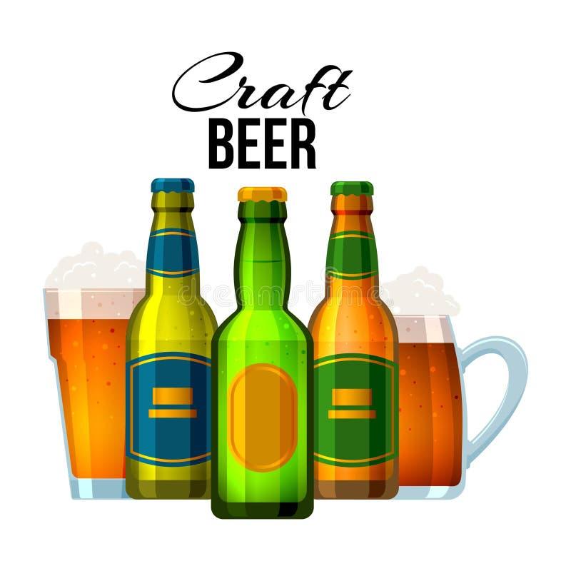 Garrafas e vidros com cerveja do ofício e texto inglês, ilustração do vetor Cerveja da bebida, projeto do cartaz decorativo ilustração stock