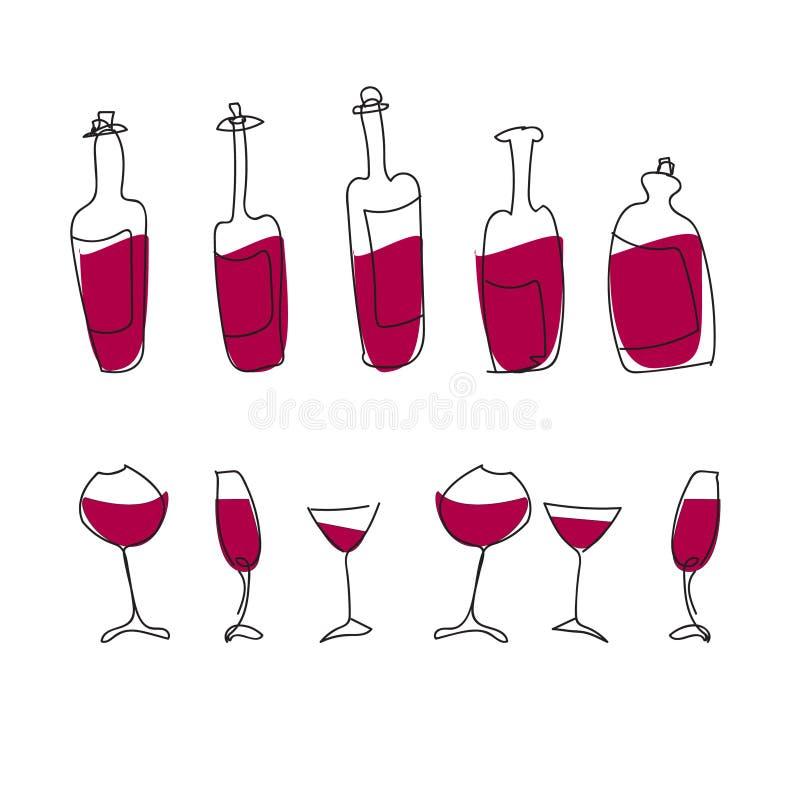 Garrafas e vidros isolados de vinho do vetor ilustração do vetor