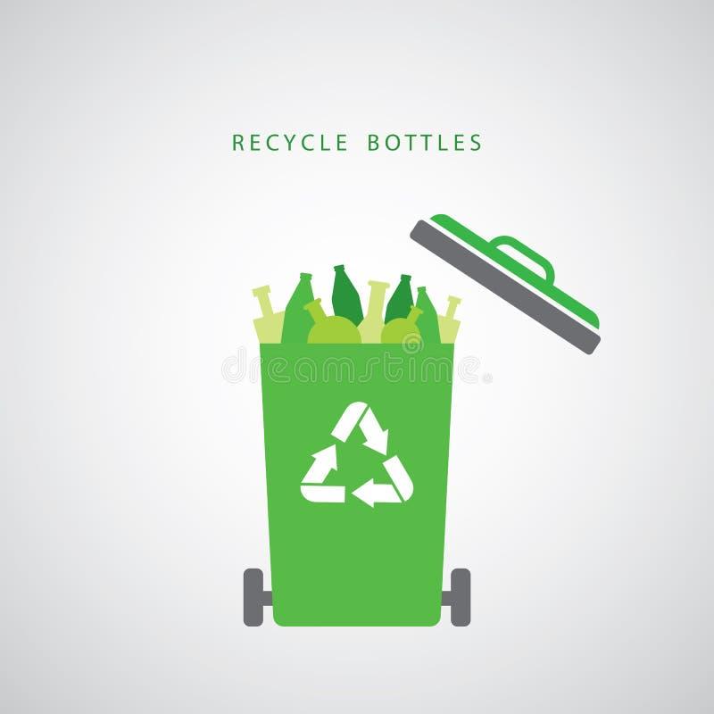 Garrafas em um escaninho de reciclagem verde ilustração do vetor