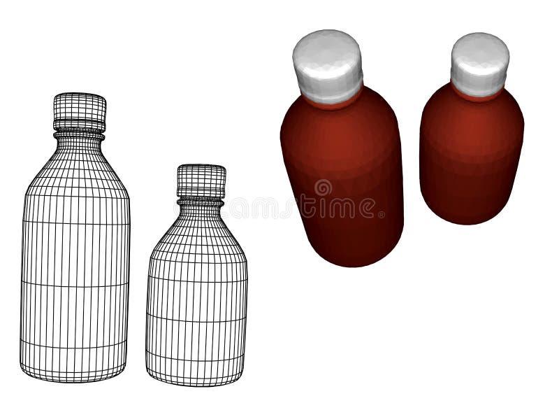 Garrafas médicas pequenas ilustração do vetor