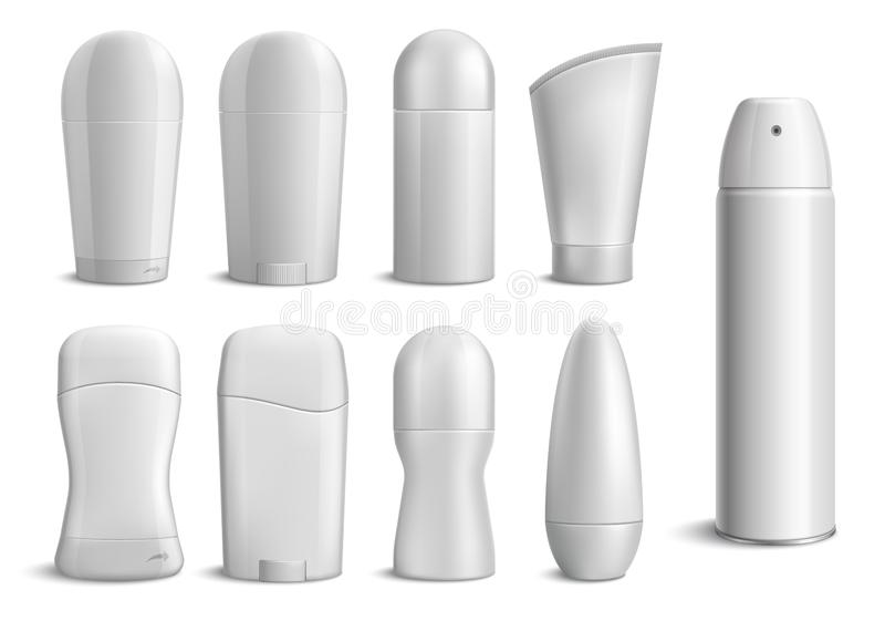 Garrafas monocromáticas realísticas do desodorizante ilustração royalty free