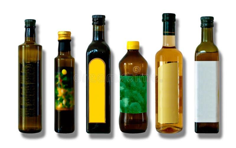 Garrafas para o vinagre e o óleo foto de stock