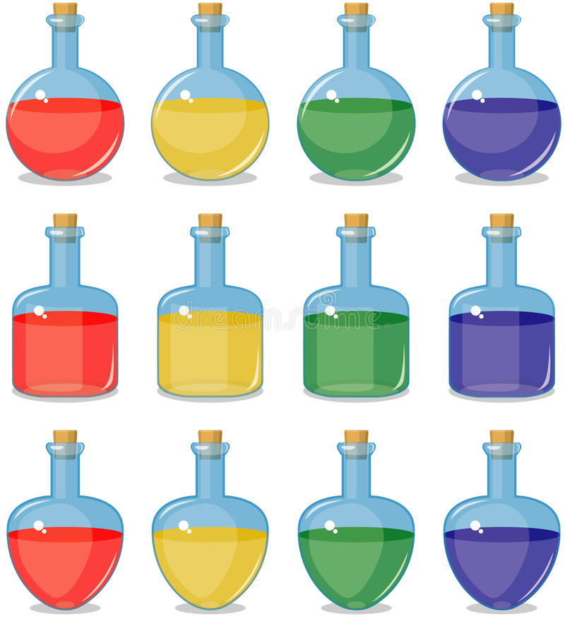 Garrafas pequenas coloridas ilustração do vetor
