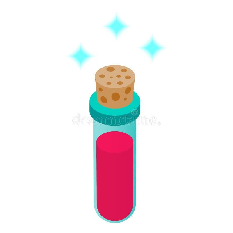 Garrafas pequenas com ícone 3d isométrico da poção roxa ilustração royalty free
