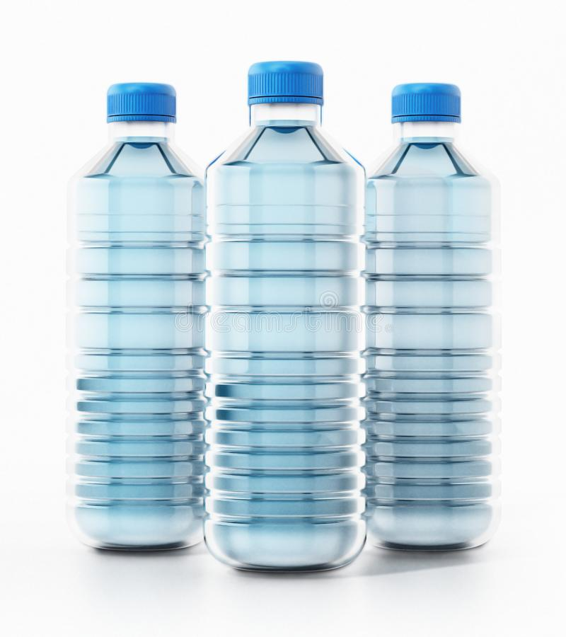 Garrafas plásticas azuis completamente da água ilustração 3D ilustração stock