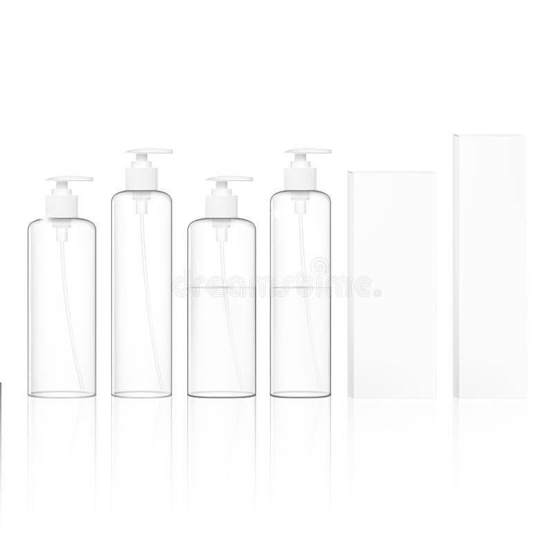 Garrafas plásticas cosméticas transparentes com bomba do distribuidor Recipiente líquido para o gel, loção, creme, champô ilustração do vetor