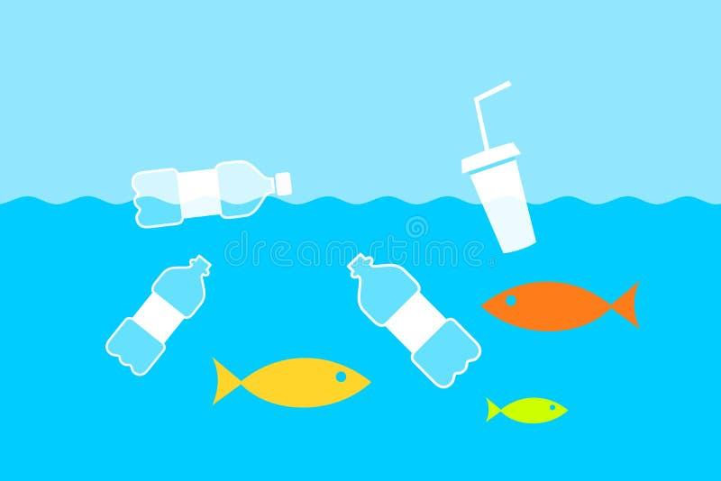Garrafas plásticas no rio, no mar e no oceano ilustração royalty free
