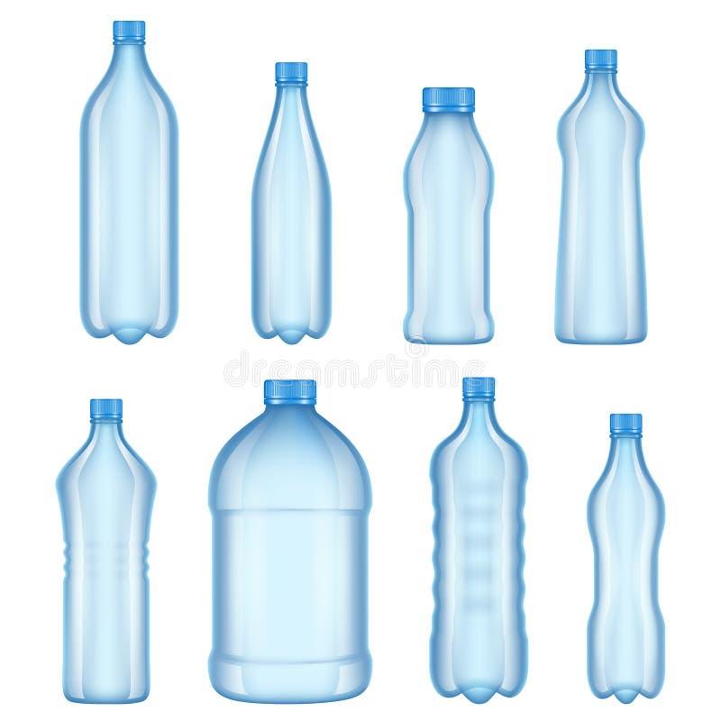 Garrafas plásticas para a água Imagens realísticas do vetor de vários tipos garrafas transparentes ilustração royalty free