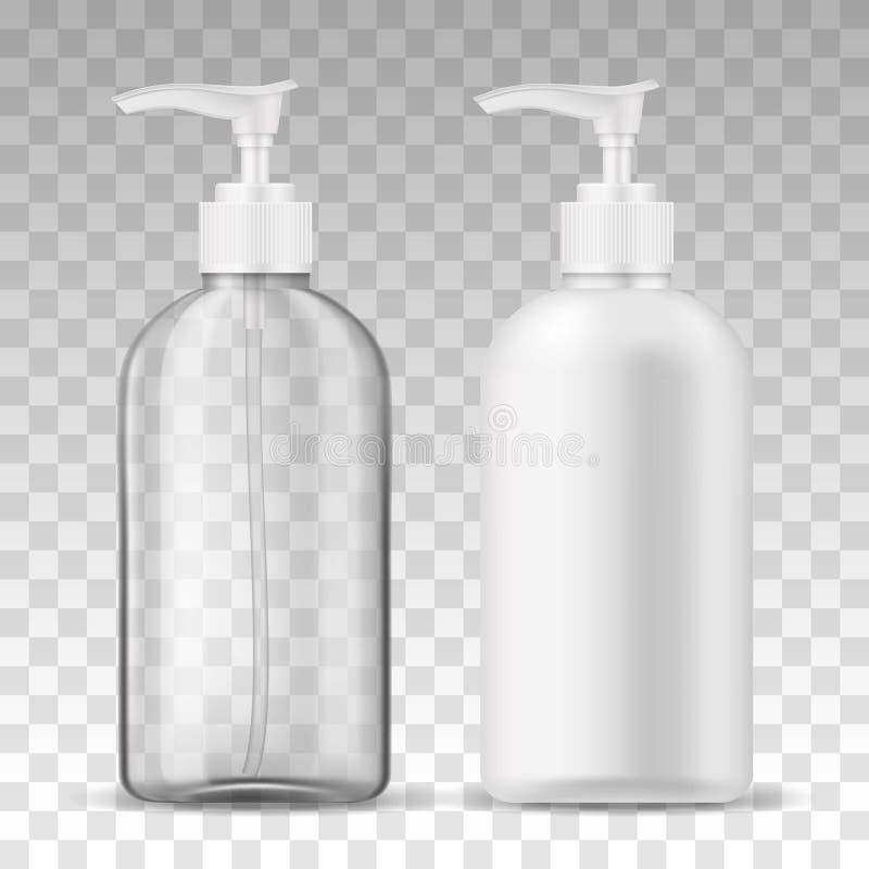 Garrafas plásticas realísticas do modelo dois do molde dos anúncios com a bomba mal ventilada do distribuidor transparente e bran ilustração stock