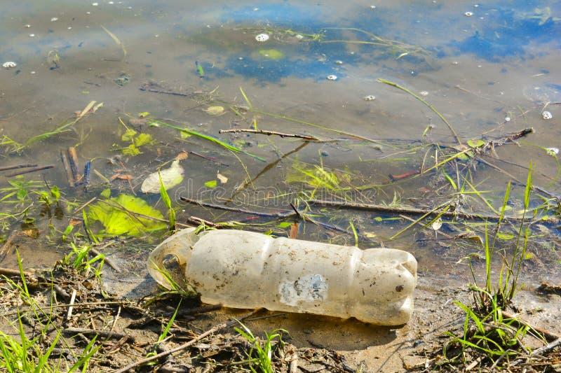 Garrafas plásticas usadas velhas no rio Banco poluído do rio Garrafas e lixo plásticos na água Destrui??o ambiental imagens de stock