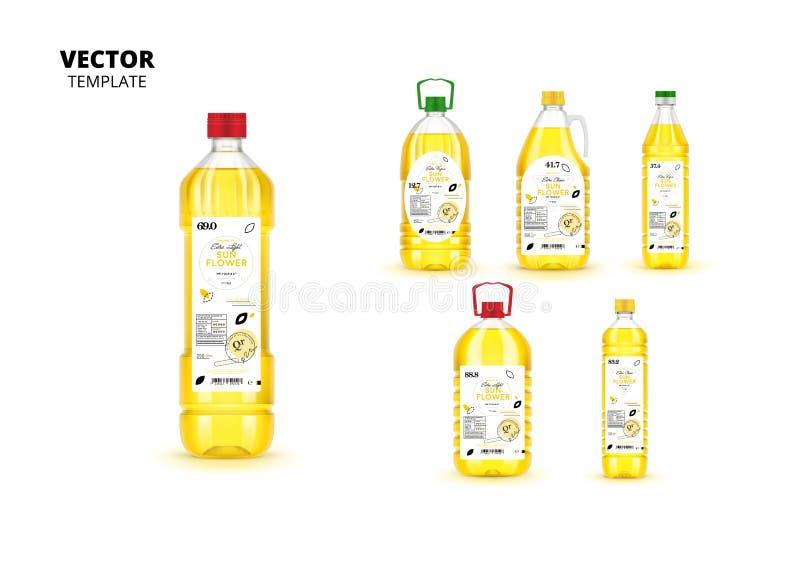 Garrafas plásticas virgens extra do óleo de girassol ajustadas ilustração stock