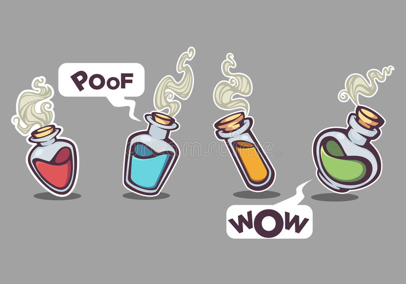 Garrafas químicas de vidro com líquido mágico, ilustração do vetor