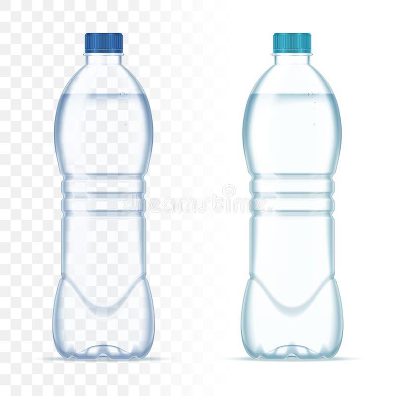 Garrafas realísticas plásticas do vetor com água e o tampão azul no fundo transparente Modelo realístico da garrafa ilustração stock