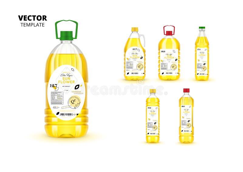 Garrafas superiores do plástico do óleo de girassol da qualidade ilustração stock